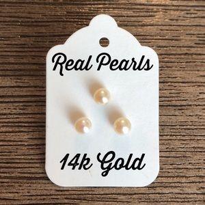 3 Real Pearl Stud Earrings 14k Gold Posts
